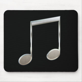 Shiny Silver Music Notation Beamed Whole Notes Mouse Pad