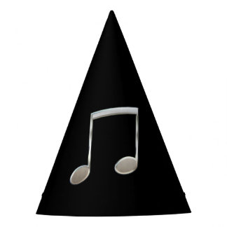 Shiny Silver Music Notation Beamed Whole Notes Party Hat