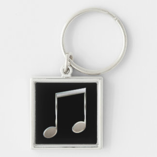 Shiny Silver Music Notation Beamed Whole Notes Silver-Colored Square Key Ring
