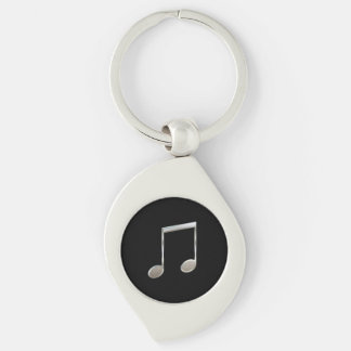 Shiny Silver Music Notation Beamed Whole Notes Silver-Colored Swirl Key Ring