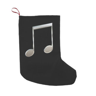 Shiny Silver Music Notation Beamed Whole Notes Small Christmas Stocking