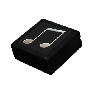 Shiny Silver Music Notation Beamed Whole Notes Small Square Gift Box