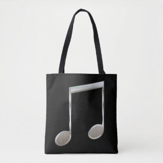 Shiny Silver Music Notation Beamed Whole Notes Tote Bag