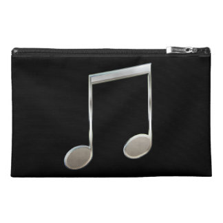 Shiny Silver Music Notation Beamed Whole Notes Travel Accessory Bag