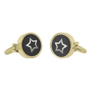 Shiny Silver Star Shape Outline Digital Design Gold Finish Cufflinks