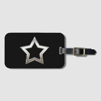 Shiny Silver Star Shape Outline Digital Design Luggage Tag