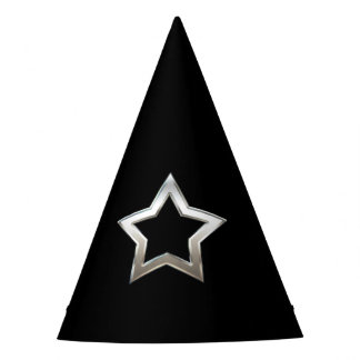 Shiny Silver Star Shape Outline Digital Design Party Hat