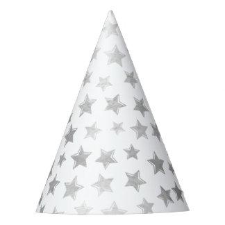 Shiny Silver Stars 2 Party Hat