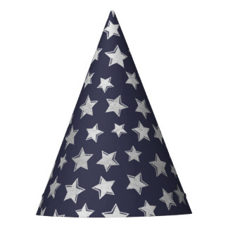 Shiny Silver Stars - Blue Background Party Hat