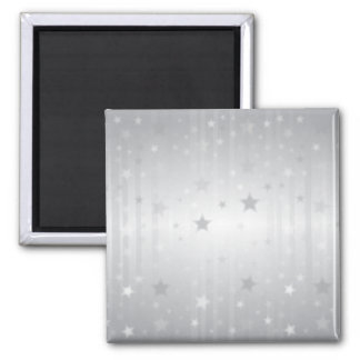 Shiny Silver Stars Square Magnet
