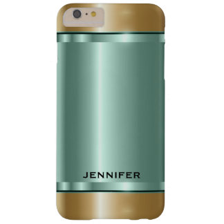 Shiny Soft-Green And Gold Barely There iPhone 6 Plus Case