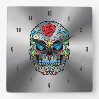 Shiny Stainless Steel & Colorful Floral Skull Clocks