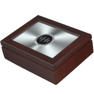 Shiny Stainless Steel Print Monogram Keepsake Box