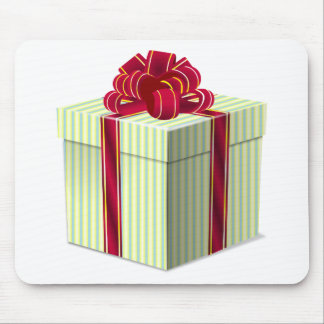 Shiny Striped Gift/Present with Red Bow Ribbon Mousepads