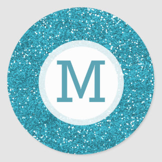 Shiny Turquoise Blue Glitter Monogrammed Classic Round Sticker