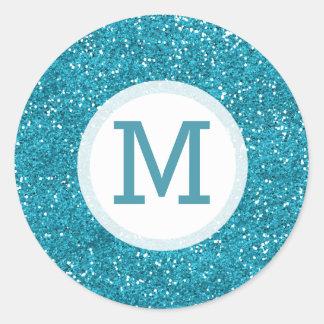 Shiny Turquoise Blue Glitter Monogrammed Round Sticker