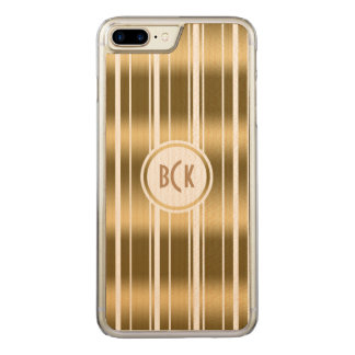 Shiny Vertical Random Gold Stripes Pattern Carved iPhone 7 Plus Case