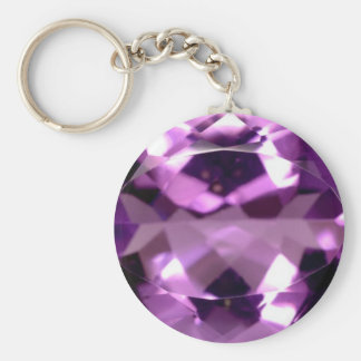 Shiny violet Amethyst gem February birthstone Key Ring