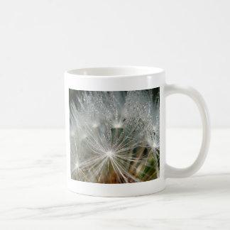 Shiny waterdrops on a white dandelion mug