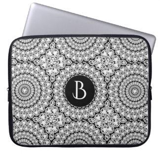 Shiny White Diamonds Print Circles Pattern Computer Sleeve