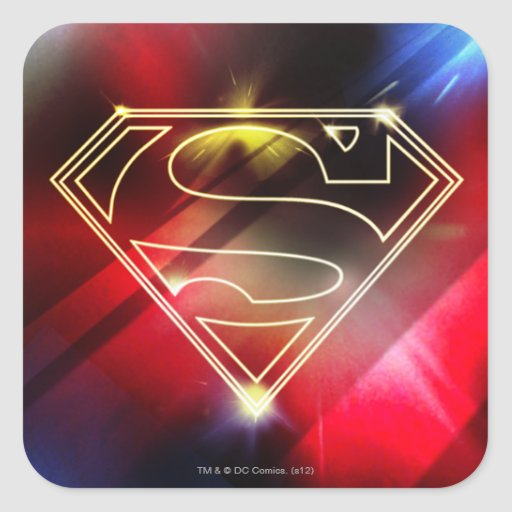 Shiny Yellow Outline Superman Logo Square Stickers