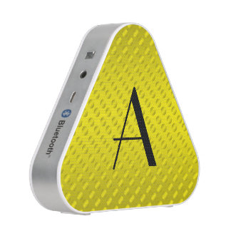 Shiny Yellow polka dots monogram Bluetooth Speaker