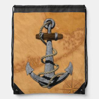 Ship Anchor And Nautical Map Drawstring Backpacks