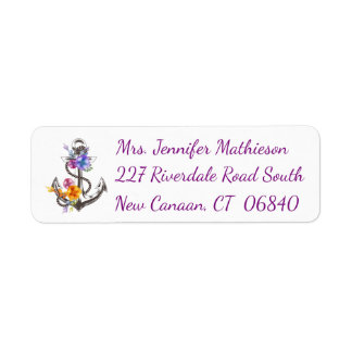 Ship Anchor Floral Purple Nautical Return Address Return Address Label