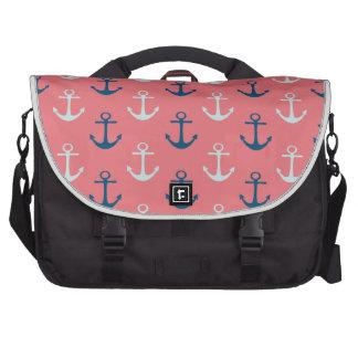 Ship Anchors on Rose Bag For Laptop