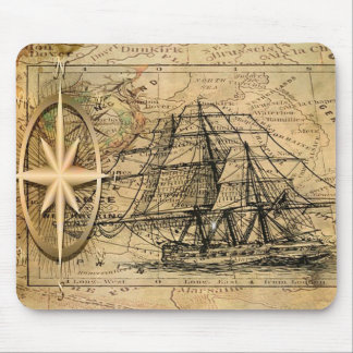 Ship and Compass Mouse Pad