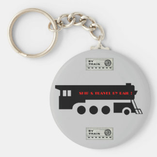 Ship and Travel By Railroad Train Key Ring