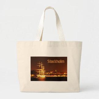 Ship at night in Stockholm, Sweden Large Tote Bag