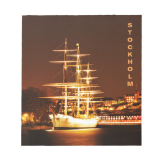 Ship at night in Stockholm, Sweden Notepad