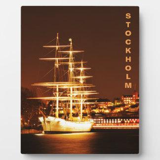 Ship at night in Stockholm, Sweden Plaque