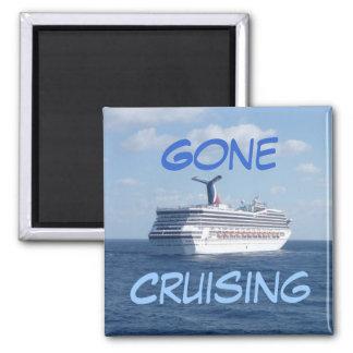 Ship at Sea Gone Cruising Square Magnet