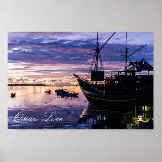 Ship at tropical lagoon poster