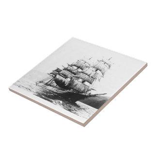 Ship - Black and White Ceramic Tile