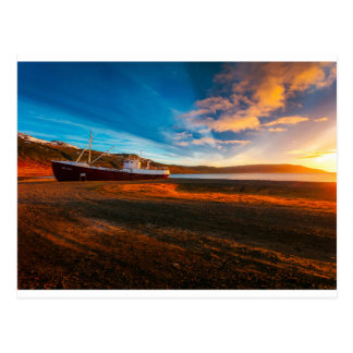 Ship Boat Sunset Postcard