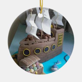 Ship cake 1 ceramic ornament