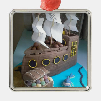 Ship cake 1 metal ornament