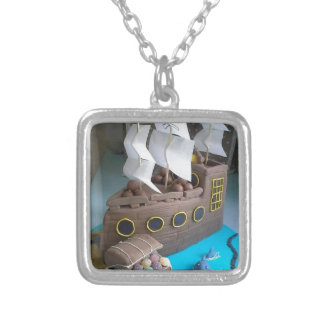 Ship cake 1 silver plated necklace