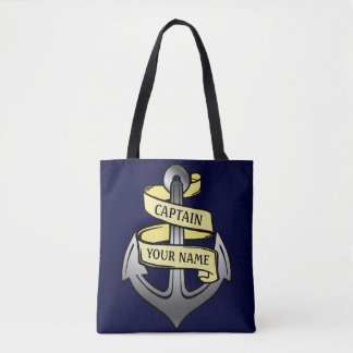 Ship Captain Anchor Sailor Nautical | Custom Name Tote Bag