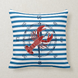 Ship Compass and Lobster Blue and White Stripe Throw Cushion