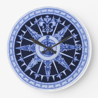 Ship Compass Wind Directions Delft-Blue-Look Wall Clock