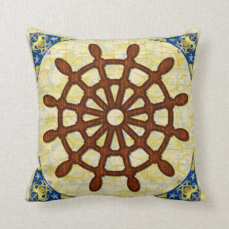 Ship Helm Wheel in Wood Old Map Nautical Seafaring Throw Pillow