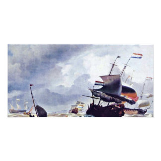 Ship In A Storm By Ludolf Bakhuizen (Best Quality) Picture Card