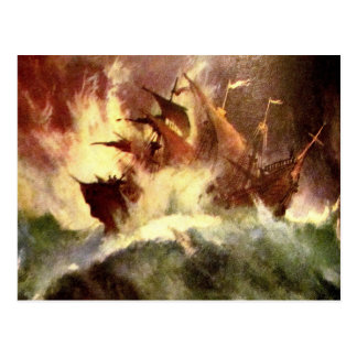 Ship in a storm postcard