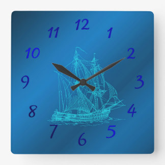 ship in blue watches square wall clock