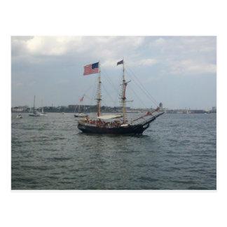 Ship in Boston Harbor Postcard