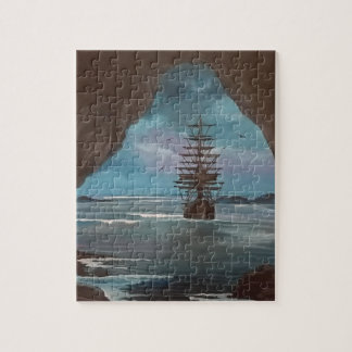 Ship In Cove Jigsaw Puzzle